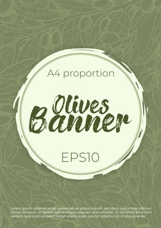 Vector vertical banner template with olive branch in linocut style and round copy space for your text. Olives banner with leaves and berry in line art style and place for text. Natural oil concept
