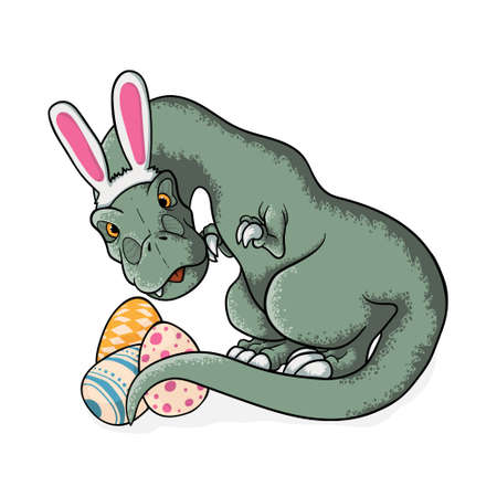 Little tyrannosaurus rex with bunny ears and easter eggs. Cute t-rex in cartoons style sitting with eggs in cartoons style. vector hand drawn illustration of dinosaur tyrannosaur rex in childish style. Isolated on white.