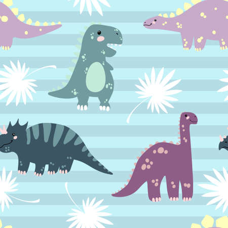 Vector seamless pattern with cute dinosaurus with tropicals leaves on stripes background in flat cartoons style. Childish repeated background with funny dinosaurs in kids doodle style.