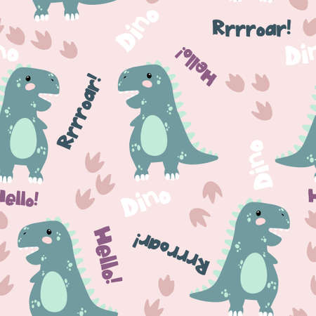 Vector seamless pattern with cute dinosaurus onpink background with text dino, roar and hello in flat cartoons style. Childish repeated background with funny dinosaurs in kids doodle style. Çizim