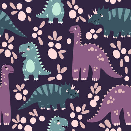 Vector seamless pattern with cute dinosaurus in flat cartoons style. Childish repeated background with funny dinosaurs in kids doodle style.