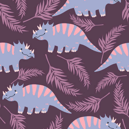 Vector seamless pattern with cute dinosaurus with tropical leaves in flat cartoons style. Childish repeated background with funny dinosaurs in kids doodle style. Çizim