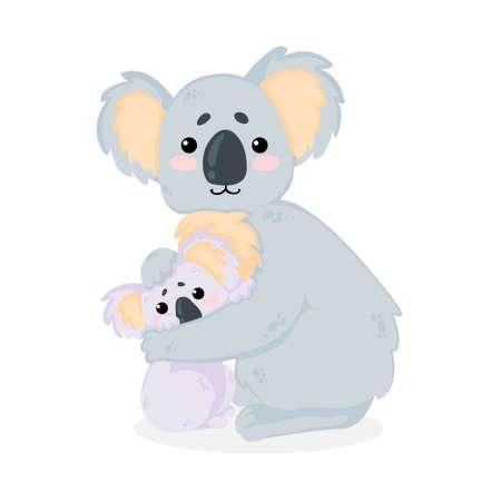 Ilustración de dibujado a mano de vector de madre de oso koala lindo abraza a su bebé en estilo de dibujos animados. Aislado sobre fondo blanco. El arte del día de la madre con una divertida madre koala abraza a su bebé en un estilo infantil.