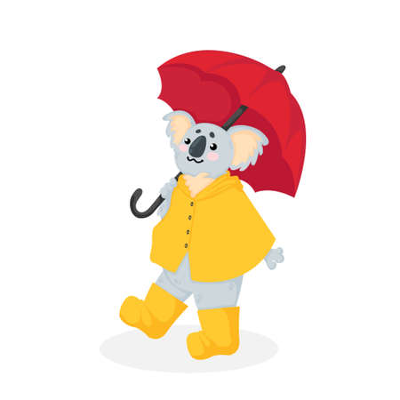 Hand drawn vector illustration of a little koala bear in yellow raincoat and rubber boots walking under an red umbrella in cartoons style. Stock image isolated on white background.