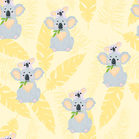 Vector hand drawn seamless pattern with cute mother koala and her baby on pastels yellow background with tropical leaves. Repeated background with illustration of a funny koala mama and baby. Best for textile and print design. Vectores