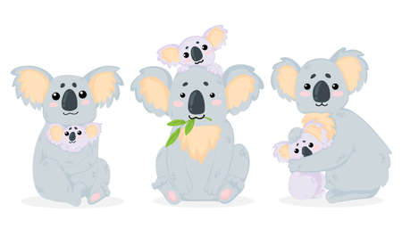 Vector hand drawn collection of illustrations with cute koala bear mother hugs her baby in cartoons style. Isolated on white background. Mothers Day Sett of arts with funny koala mother hugs her baby in childish style.