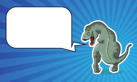 Vector background with hand drawn illustration of tyrannosaur in comix style with palce for text. Cute colorful t-rex in cartoons style with cope space