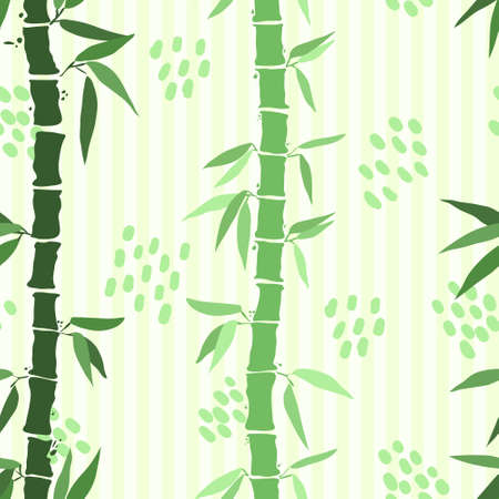 Bamboo leaf seamless pattern in green tones colors on light green bakground with stripes and spots. Hand drawn bamboo background with paint texture. Illustration