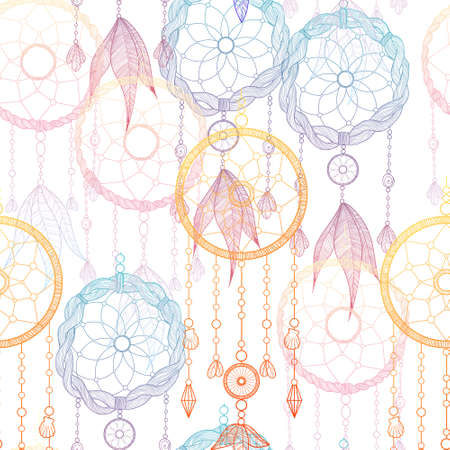 Hand drawn illustration with indian dreamcatchers and feathers. Seamless pattern. Vector illustration. Ethnic design, boho chic, tribal symbol. Good fabric, textile, wallpaper