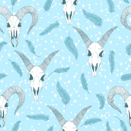 Vector hand drawn seamless pattern with magical astrology, Alchemy, spirituality and occultism symbol. In sketch style with goat skull illustration. Best for wrapping, wallpaper or textile