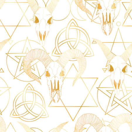 Vector hand drawn seamless pattern with magical astrology, Alchemy, spirituality and occultism symbol. In sketch style with goat skull illustration. Best for wrapping, wallpaper or textile design