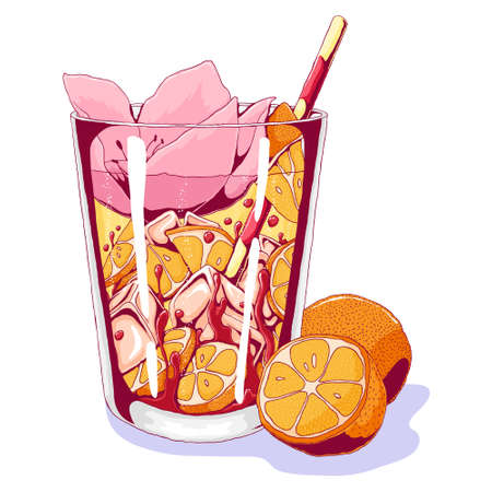 Tequila sunrise with orange fruits and tropical flower. Vector hand drawn illustration of popular beach cocktail isolated on white background.  Party, celebration concept. modern style, trendy objects. 向量圖像