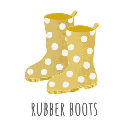 Vector icon of yellow rubber boots with white dots in flat style with texture.  Garden hand drawn design. Cartoon cute rubber boots pair sticker. Polka dot yellow  shoe. Retro flat sign Illustration
