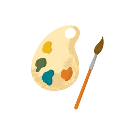 Wooden artist's palette with paints and brush. Vector illustration of cartoon wooden thing with colorful round spots of paints. Flat design with texture.