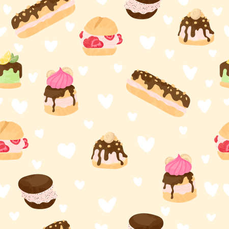 Various cake, eclair and profiterole vector seamless pattern in flat cartoons style. Cute colorful dessert with chocolate, berries and fruits on beige background and white hearts.