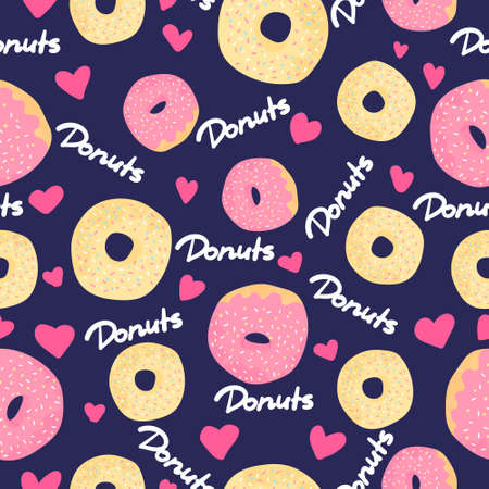 Donuts seamless pattern on dark blue background with pink hearts. Desserts vector background in flat cartoons style. Colorful design for textile, wallpaper, fabric, decor. Template for design.