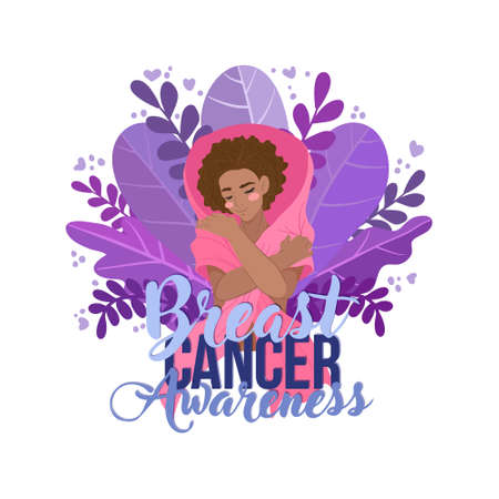 Breast cancer awareness month concept. African American woman hugs self with breast cancer awareness pink ribbon.