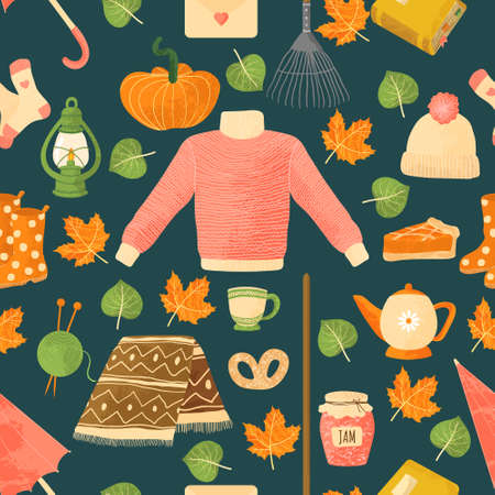 Vector seamless pattern with autumns cozy object and falls leaves and floral. Bright repeated texture for fall season. Wrapping paper. Harvest time. Autumn background on dark background. Ilustração