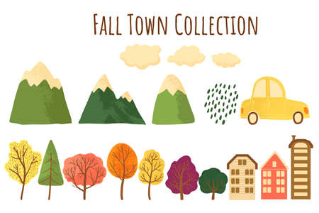Autumn collection with trees, mountains, houses, car and clouds icons. Constructor set for colorful falls landscape concept in cartoons flat style. Vector illustration. Isolated on white.