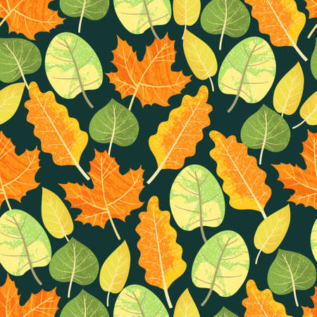 Colorful autumn leafs pattern in warm colors, seamless. Falls leaves background repeat. Trendy flat design with texture. Great for backgrounds, cards, gift wrapping paper, home decor.