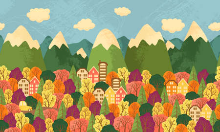 Autumn fores and town landscape vector background in flat cartoons style. Horizontal repeated background with Fall trees, house, car, mountains and clouds. Doodle colorful illustration with texture. Ilustração