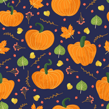 Vector seamless pattern with pumpkins, falling leaves, autumn floral elements. Bright repeated texture for fall season. Wrapping paper. Harvest time. Autumn background on dark background.