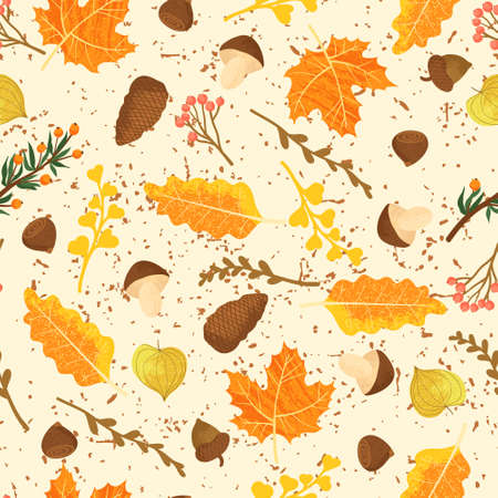 Seamless forest pattern with acorns and autumn leaves. Cozy fall background. Vector background with flat cartoons elements.