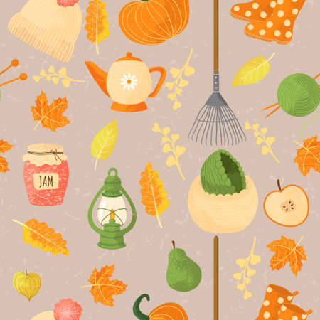Vector seamless pattern with autumns cozy object and falls leaves and floral. Bright repeated texture for fall season. Wrapping paper. Harvest time. Autumn background on light background. Ilustração