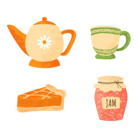Tea party elements set. Collection with pot, teacup, pie and jam. Vector illustration in flat cartoons style. Isolated on white background. Autumn symbol.
