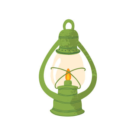 Icon of green lantern with fire. Vector illustration in flat cartoons design. Isolated on white background. Symbol of fall and camping.