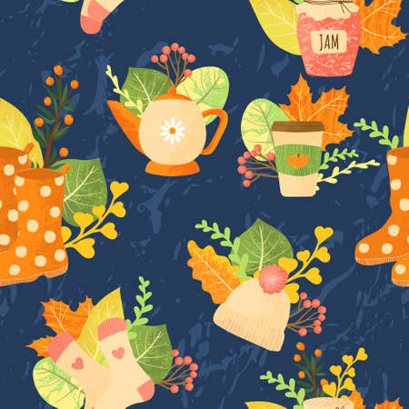 Vector seamless pattern with autumns cozy object and falls leaves and floral. Bright repeated texture for fall season. Wrapping paper. Harvest time. Autumn background on light background.