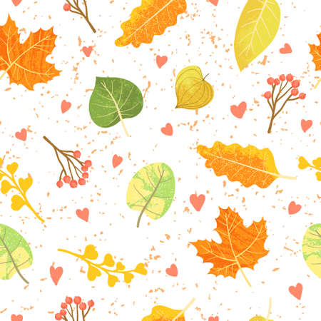 Seamless pattern with autumn leaves, twigs, berry and hearts. Cartoons flat design. Scattered colorful leaves vector illustration. Stylish background, textile or wrapping paper design Ilustração