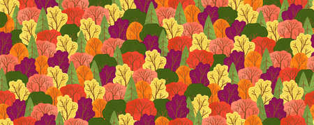 Vector seamless pattern with colorful autumn forest trees and bushes. Flat cartoons design. Horizontal colorful fall background with trees. Great for cards, gift wrapping paper, home decor.