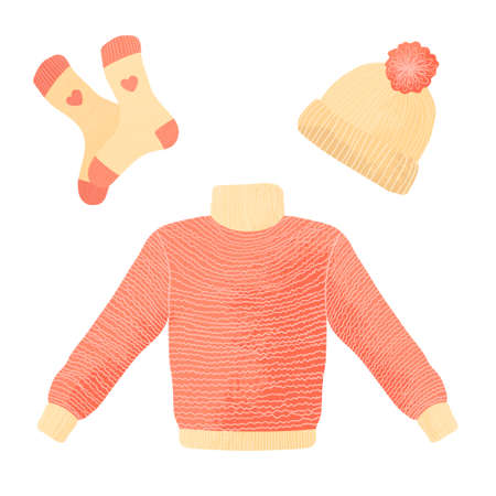 Collection of winter knitted clothes isolated on white background - woolen jumper or sweater, hat with pompon and socks. Flat cartoon vector illustration in flat design with texture. Ilustração