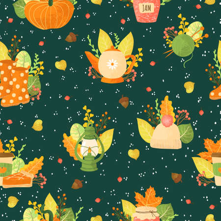 Vector seamless pattern with autumns cozy object and falls leaves and floral. Bright repeated texture for fall season. Wrapping paper. Harvest time. Autumn background on dark background. Imagens