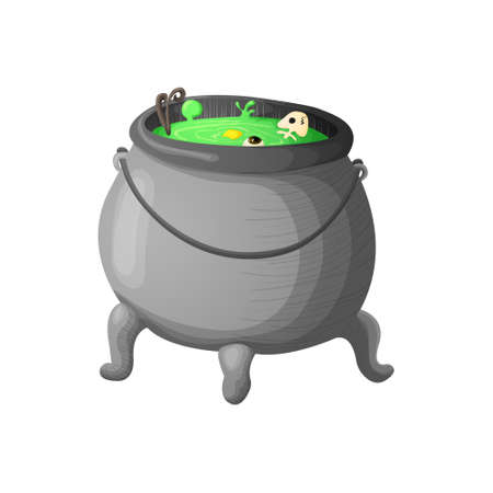 Witch cauldron with bubbling green liquid isolated on white background. Symbol of witchcraft. Dark boiling cauldron. Traditional halloween element. Vector illustration.