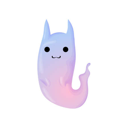 Funny Halloween Vector Illustration with Ghost Cat. Cute ghost with cat ears in purple and blue colors. Isolated on white background. Ilustração