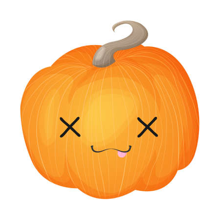 Cute pumpkin with funny face. Halloween kawaii mascot - little pumpkin. Cartoon vector character illustration. Isolated on white background.