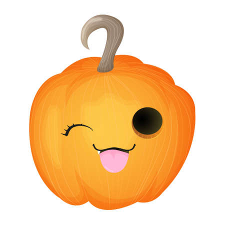 Cute pumpkin with happy smiling face. Halloween kawaii mascot - little pumpkin. Cartoon vector character illustration. Isolated on white background.