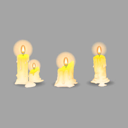 Candle collection in cartoons style on white background. Set of yellow candles with flames in Cartoon style. Vector illustration Ilustração