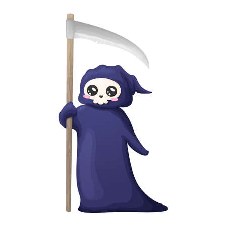 Cute cartoon grim reaper with scythe isolated on white background. Vector illustration. Kawaii Halloween skeleton character icon.