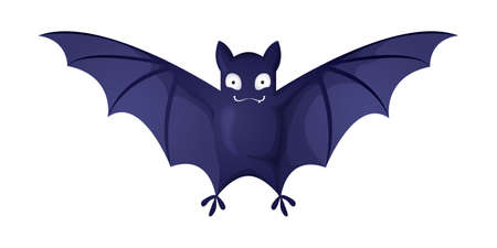 Cute little flying bat. Vector character in cartoons style. Isolated on white background. A vampire bat with open wings - halloween symbol.