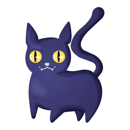 Cute black cat with smiling muzzle and yellow eyes. Vector character in cartoons style. Halloween symbol - funny black cat. Isolated on white background.