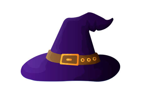 Witch hat vector illustration in cartoon style. Halloween symbol - Witch hat with buckle isolated on white background.