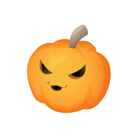 Cute pumpkin with scary smiling face. Halloween kawaii mascot - little pumpkin. Cartoon vector character illustration. Isolated on white background.