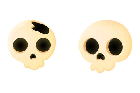 Set of two sculls in cartoons style. Funny scull icons in comic style. Vector illustration, isolated on white background. Ilustração