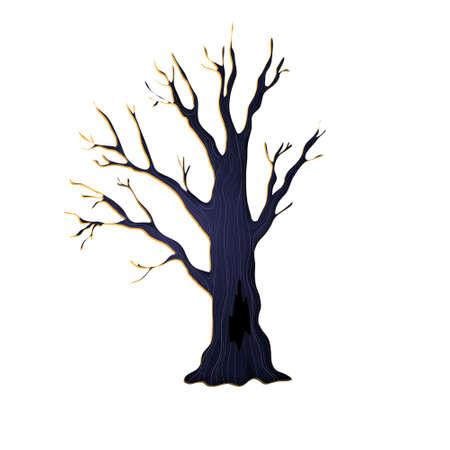 Scary halloween tree in cartoons style. Vector illustration. Isolated on white background. Ilustração
