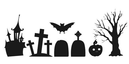 Set of silhouettes of Halloween landscapes elements. Isolated on a white background. Vector illustration. Collection of halloween silhouettes icon. Ilustração