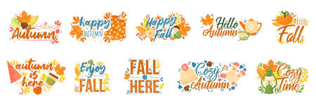 Fall typography set. Set of Fall quotes with autumns elements. Vector quotes isolated on white background. Vector set of hand drawn trendy lettering with colorful arts on theme of autumn.