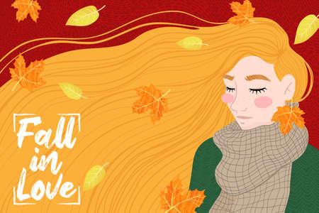 Happy ginger girl with an autumn leaf, enjoying the weather. Hello Fall. Autumn design for banner, poster, print, poster, postcard. Vector illustration. Ilustração